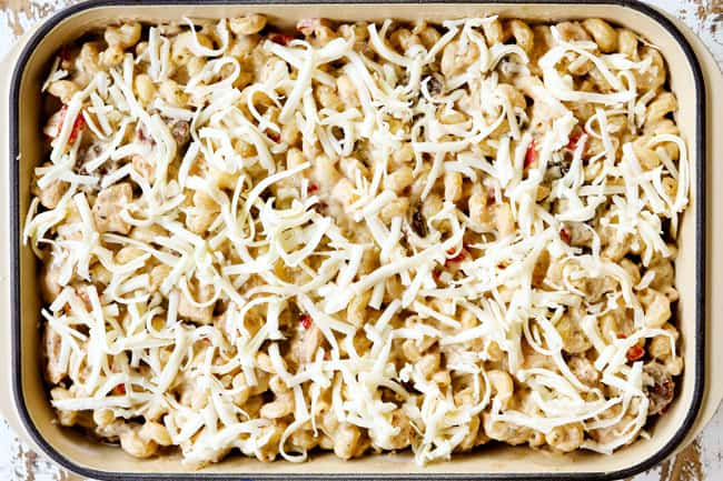 a collage showing how to make Cajun Chicken Alfredo by topping with mozzarella cheese