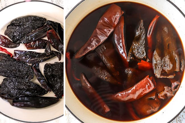 a collage showing how to make Chile Colorado by toasting chile peppers then soaking in water