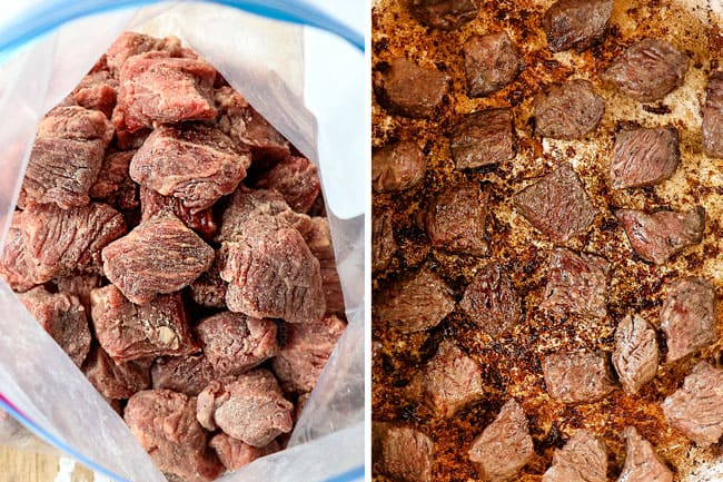 a collage showing how to make Chile Colorado recipe by tossing beef with salt and pepper then searing in a Dutch oven