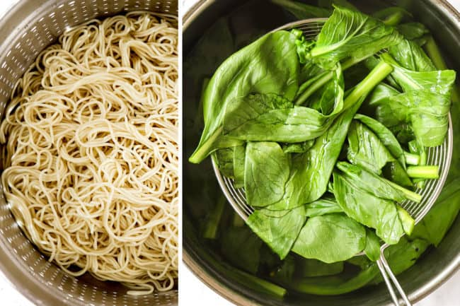 showing how to make dan dan noodles recipe by cooking noodles then blanching leafy greens