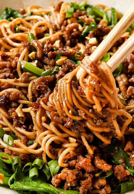 up close of Dan Dan Noodles showing how sleek they are