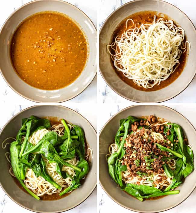 a collage showing how to make Dan Dan Noodles by 1) adding chili oil to the bottom of a bowl, 2) adding noodles, 3) adding choy yum 4) adding pork, green onions and peanuts
