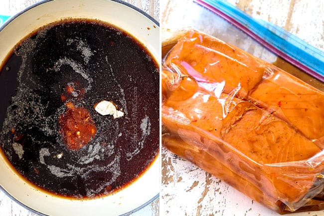 a collage showing how to make teriyaki salmon recipe by making teriyaki sauce and marinating salmon in a plastic bag
