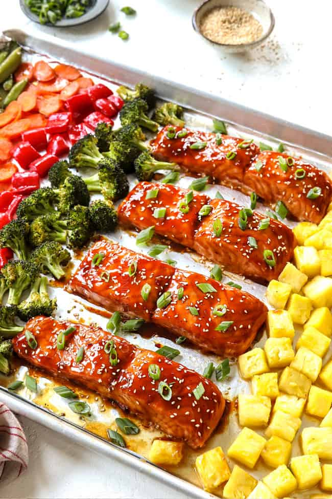 teriyaki salmon recipe on a baking sheet garnished with green onions and sesame seeds