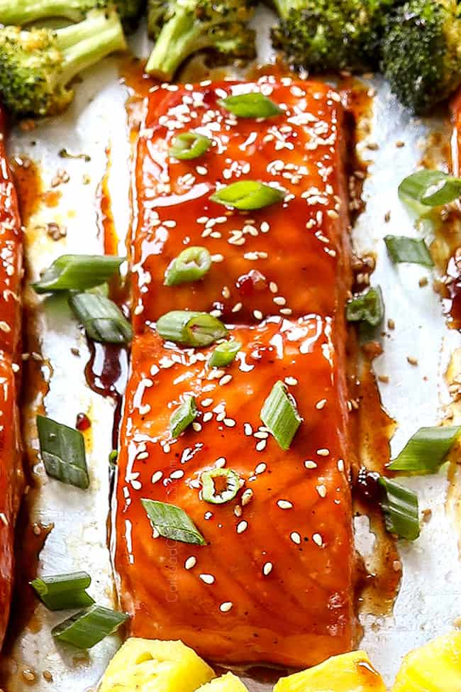 up close of glazed teriyaki salmon showing how juicy it is