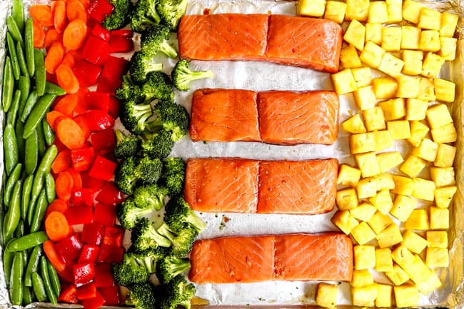 showing how to make teriyaki salmon recipe by lining salmon fillets on a baking sheet with snap peas, carrots, broccoli, bell pepper and pineapple