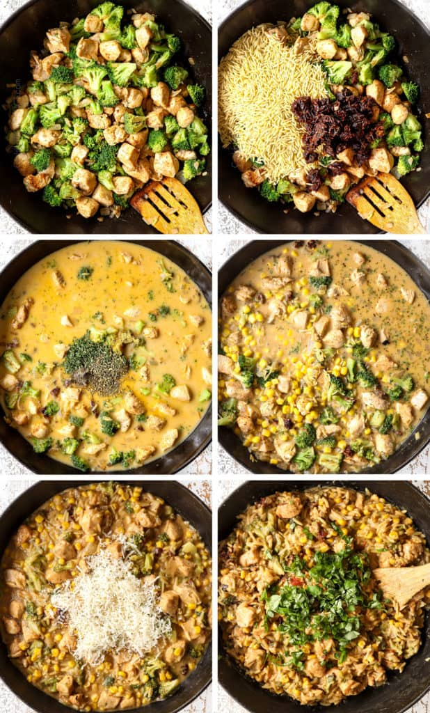 a collage showing how to make basil chicken by 1) cooking chicken with broccoli, 2) adding sun-dried tomatoes and orzo, 3) adding basil, parsley, oregano, 4) stirring in corn and chicken broth, 5) stirring in Parmesan, 6) adding fresh basil to chicken