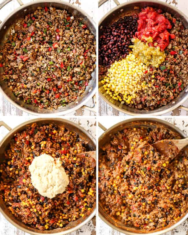 a collage showing how to make tamale pie recipe by 1) browning ground beef onions and bell peppers, 2) adding black beans, tomatoes, corn and green chilies, 3) adding masa harina batter to filling 4) stirring until creamy in a stainless steel skillet