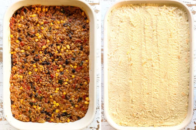 showing how to make tamale pie recipe by adding filling to the bottom of a 9x13 dish hand topping with cornbread batter
