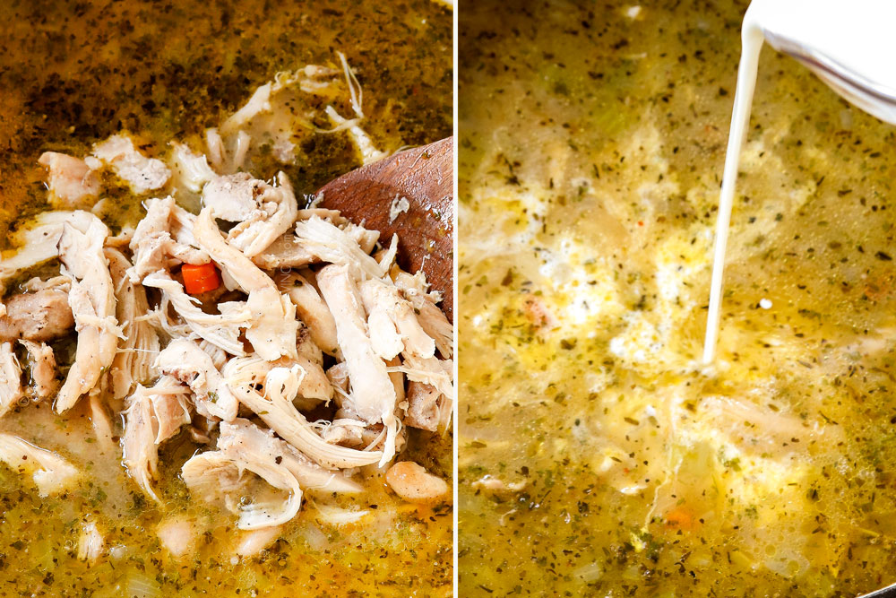 a collage showing how to make chicken pot pie soup by adding shredded chicken and half and half to soup