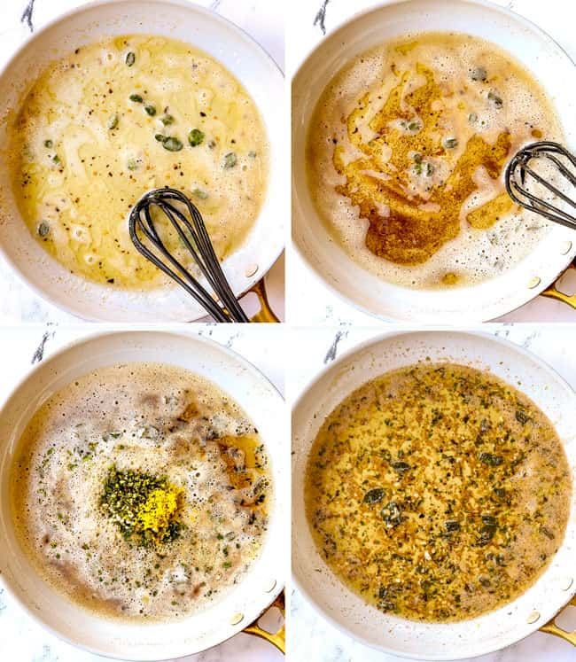 a 4 picture collage showing how to make gnocchi sauce by 1) melting butter in a white skillet with sage leaves, 2) browning butter, 3) adding fresh herbs, lemon juice and lemon zest, 4) stirring the gnocchi sauce together until evenly combined