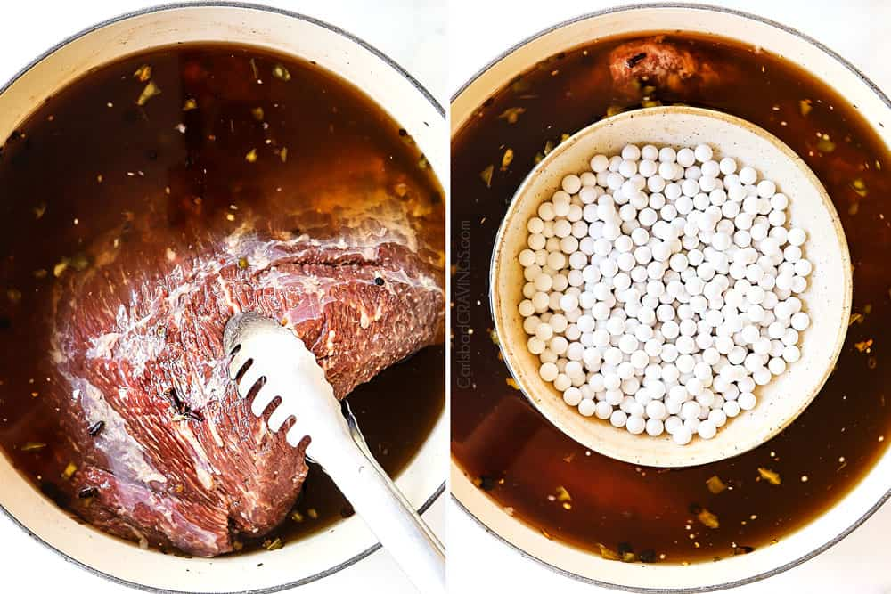 a collage showing how to make corned beef recipe by adding brisket to curing brine then weighing down with pie weights in a bowl