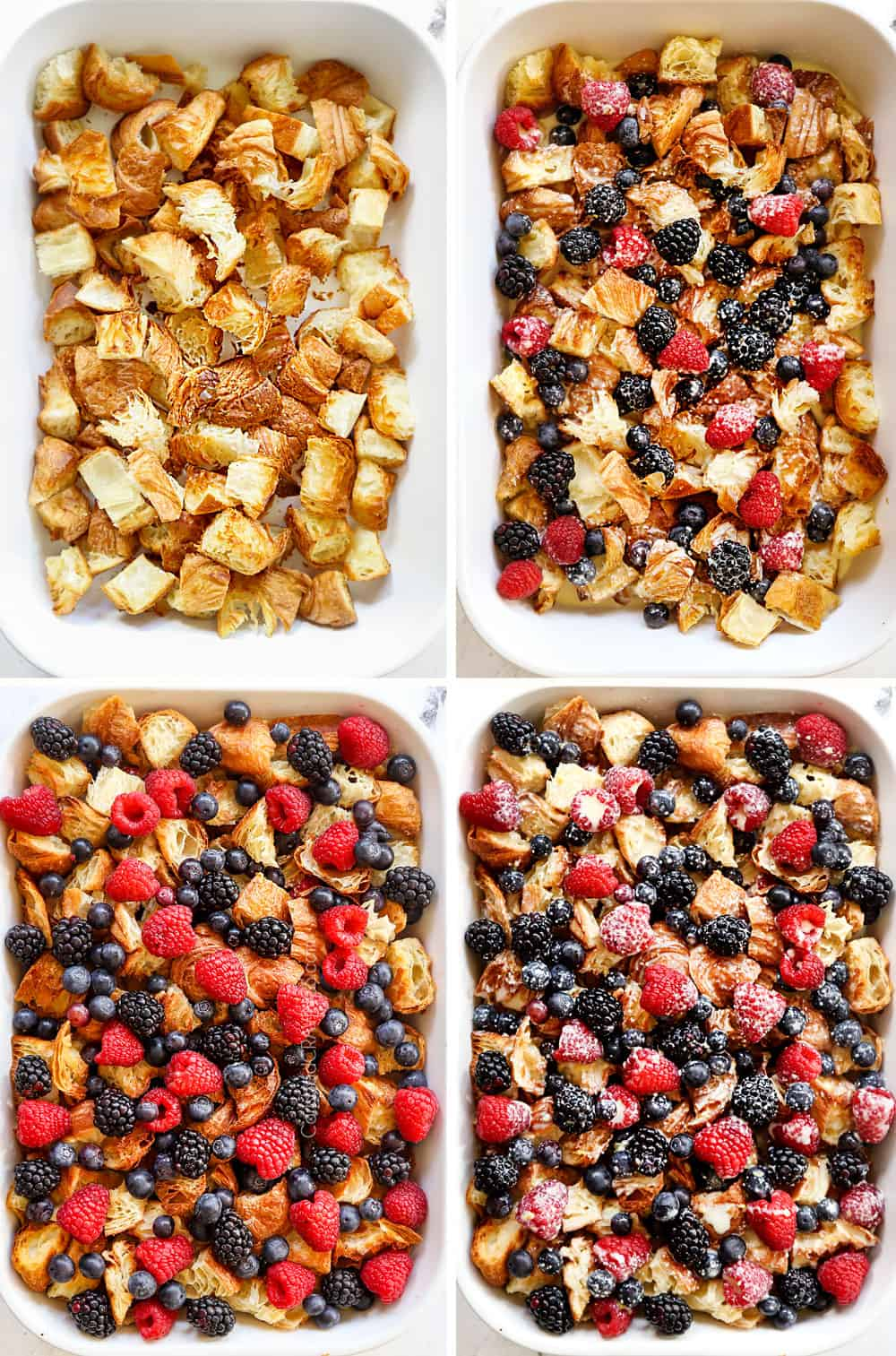 a collage showing how to make sweet breakfast casserole by adding croissants to baking dish then berries, then custard and repeating the layers