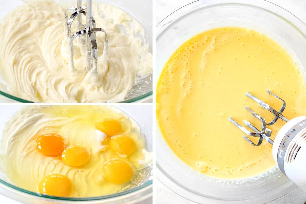 a collage showing how to make croissant breakfast casserole by creaming the cream cheese and sugar, beating the eggs and adding the half and half and mixing until smooth