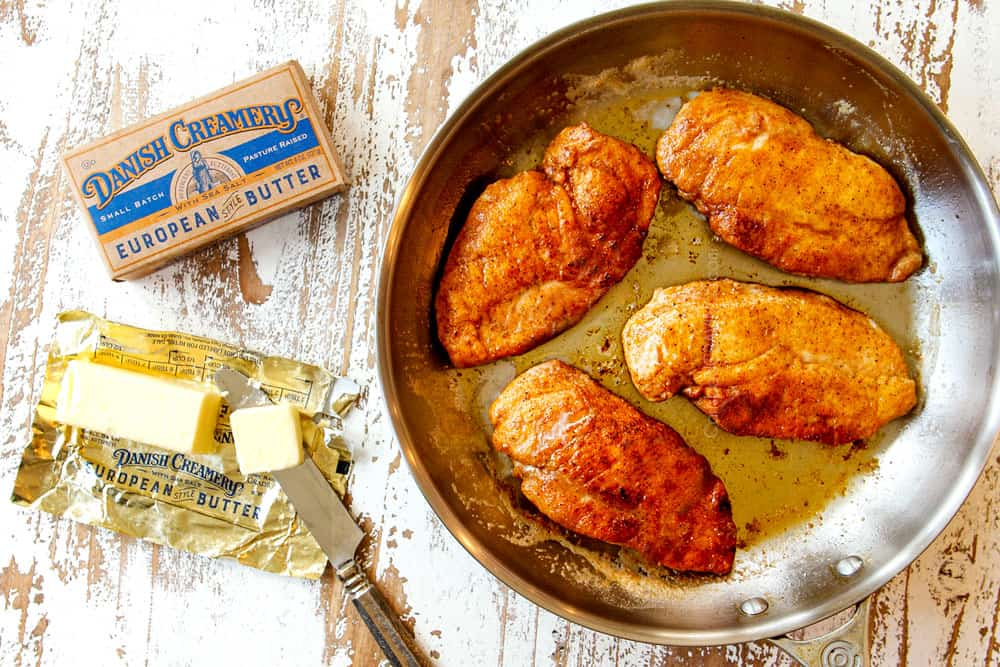 showing how to make French Onion Chicken recipe by searing four chicken breasts in a skillet