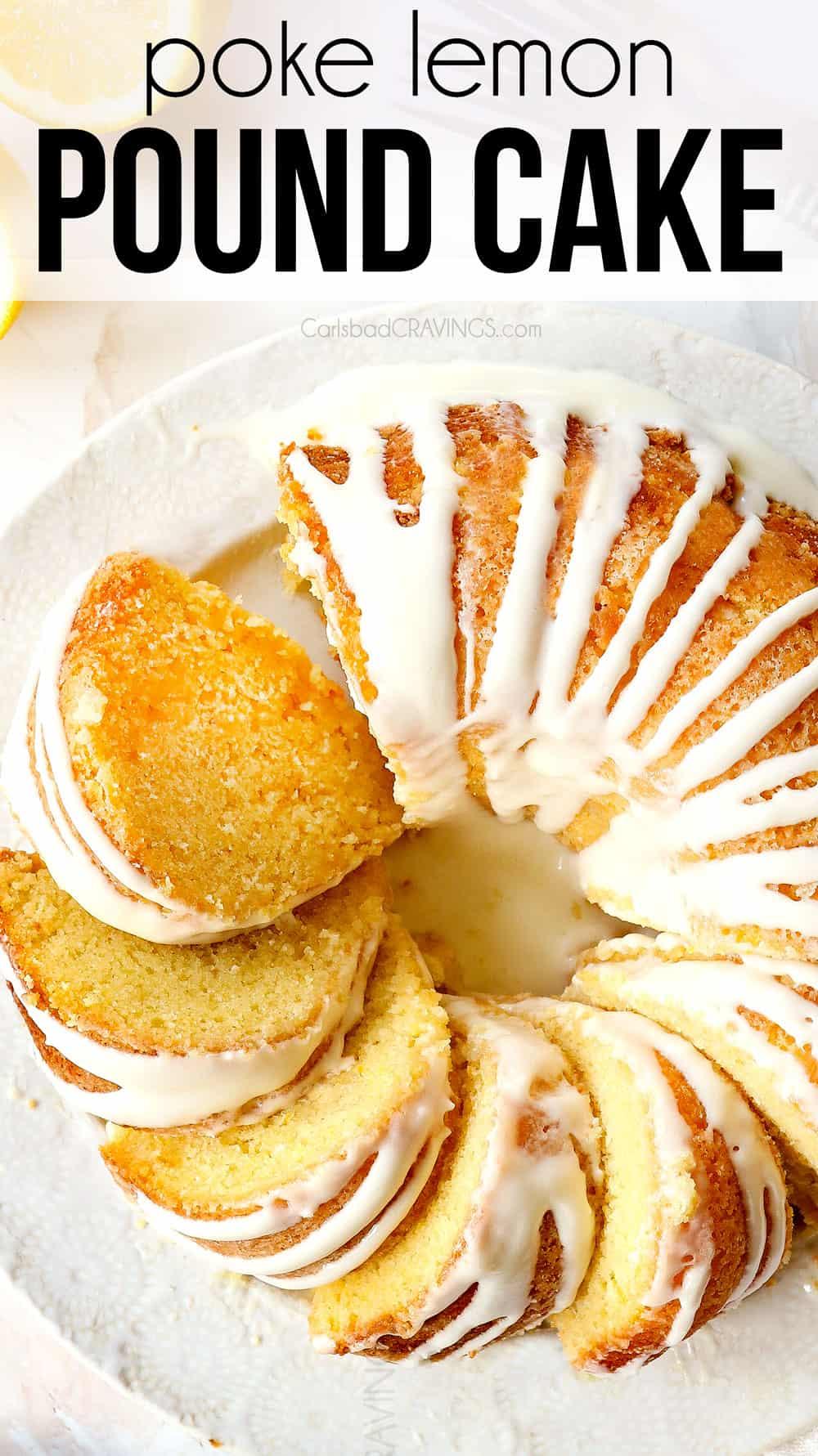 top view of lemon pound cake with glaze for lemon cake
