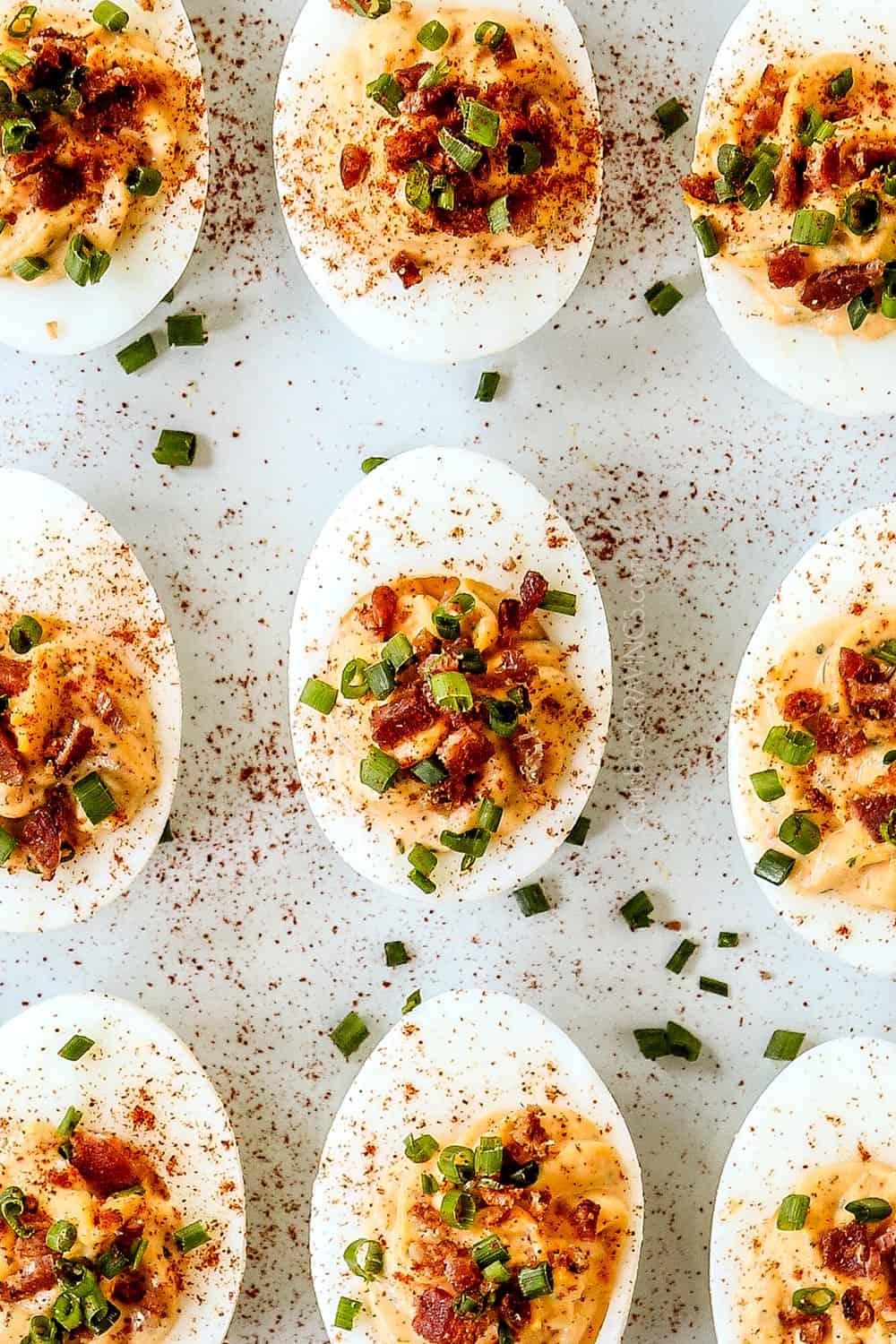 up close of easy deviled eggs on a platter without vinegar