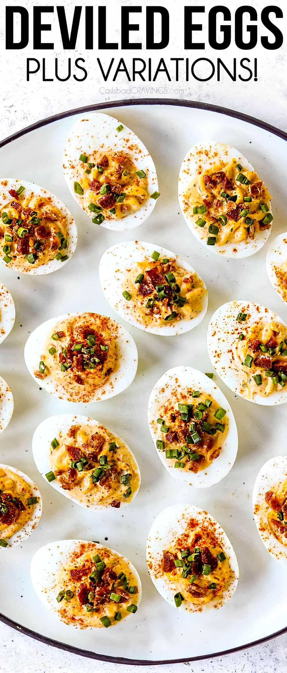 top view of deviled egg recipe with deviled eggs on a white platter