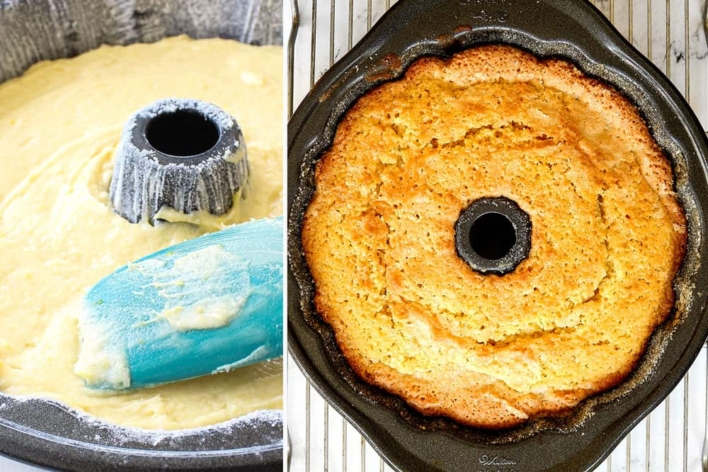 a collage showing how to make lemon pound cake recipe by adding batter to a bundt pan and baking until golden