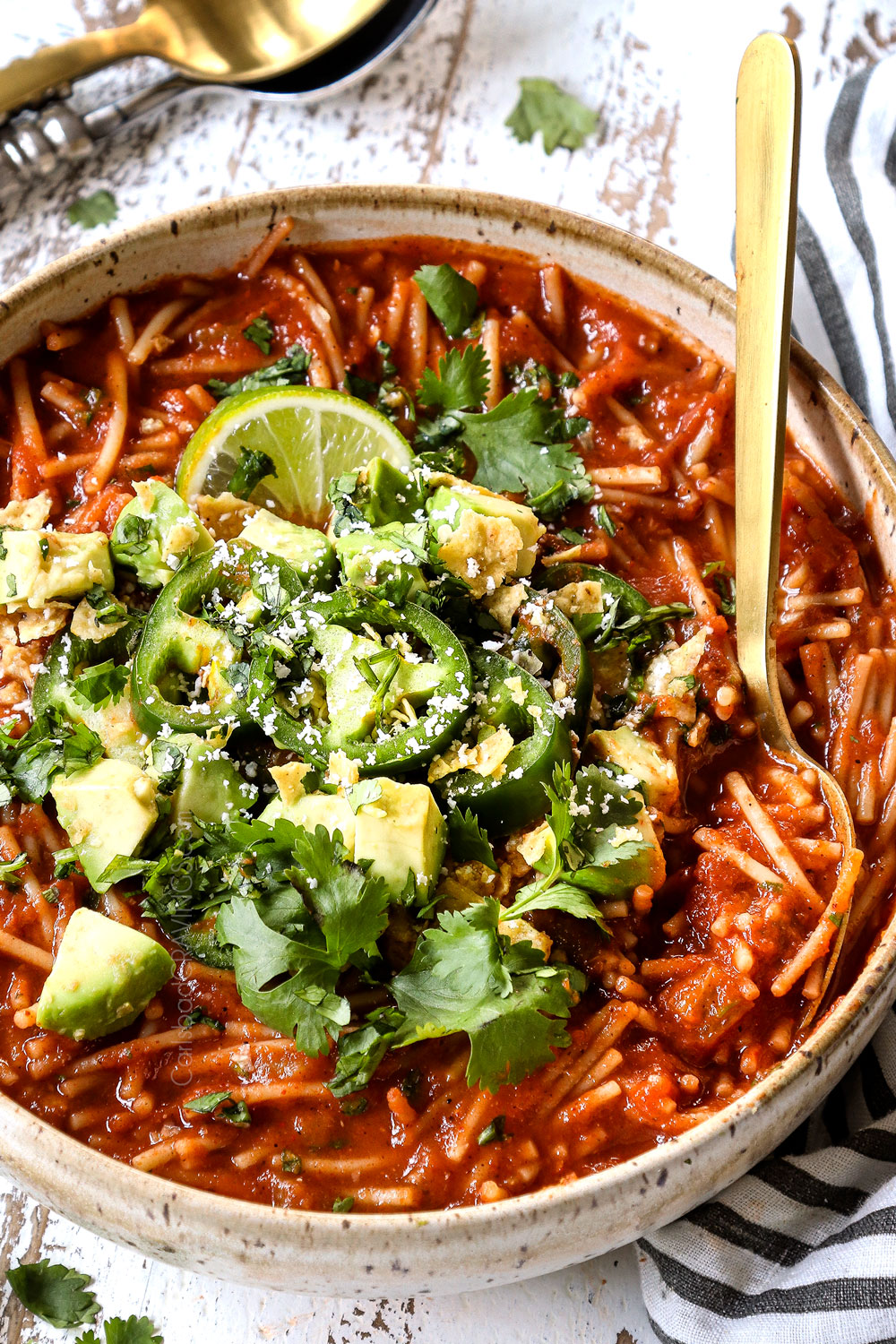 up close of fideo recipe in a bowl with fideo pasta