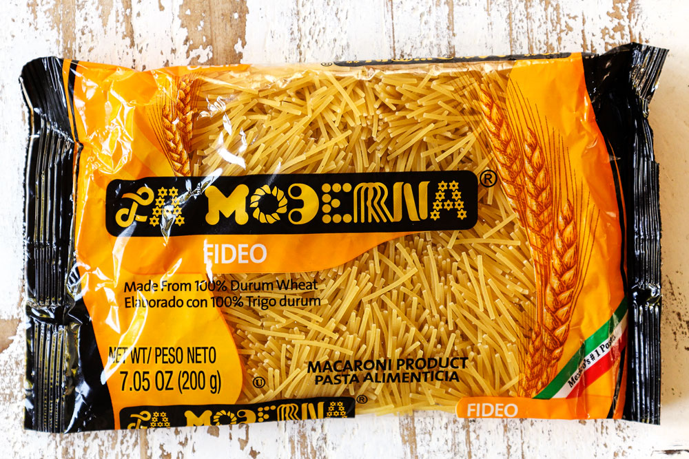 showing what fideo pasta looks like in a package