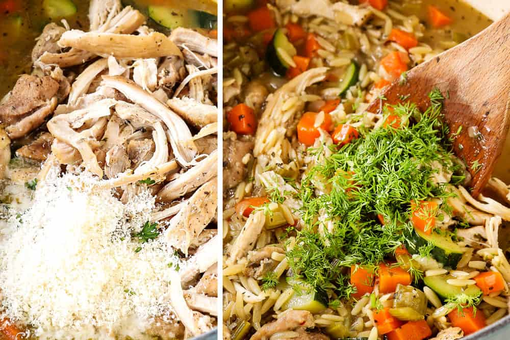 showing how to make lemon chicken orzo soup by adding shredded chicken and dill to the soup