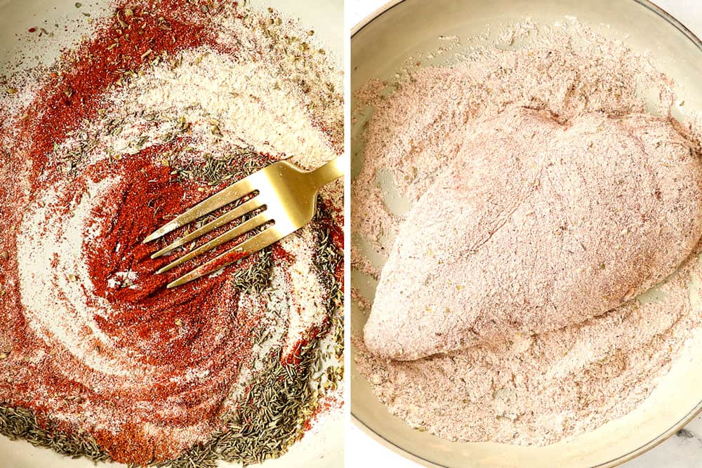 a collage showing how to make Cajun chicken recipe by whisking Cajun seasonings together in a bowl and then dredging the chicken in the seasonings