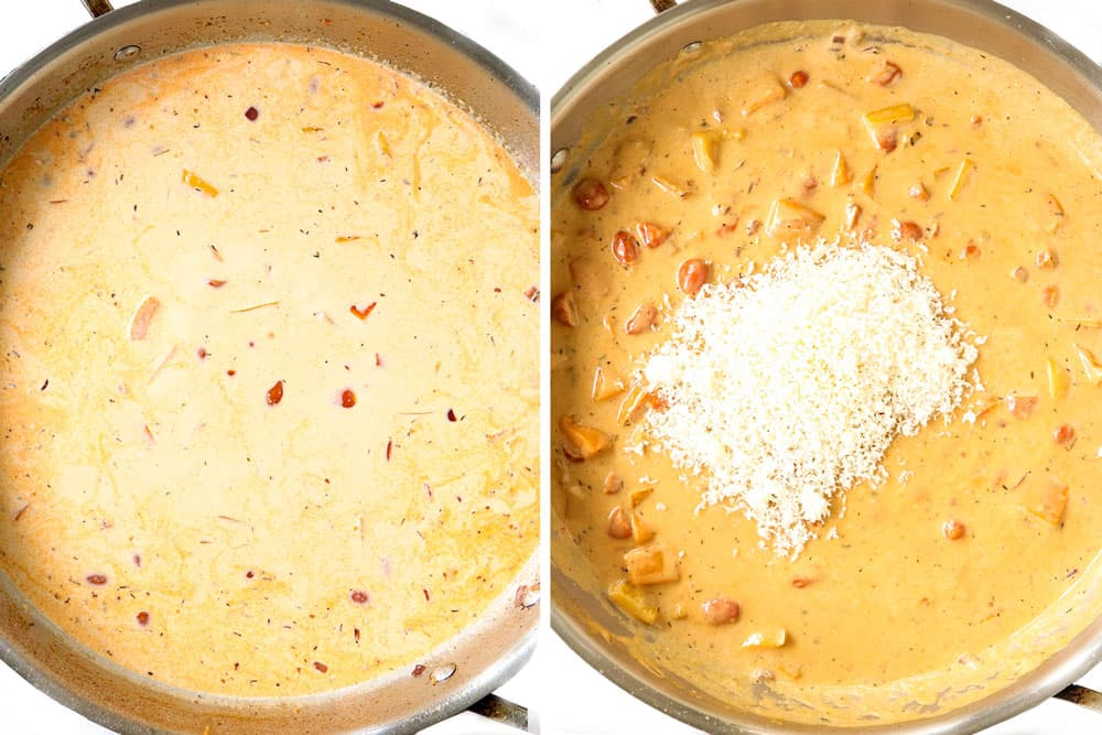 a collage showing how to make Cajun chicken recipe by simmering sauce until thickened and then adding Parmesan