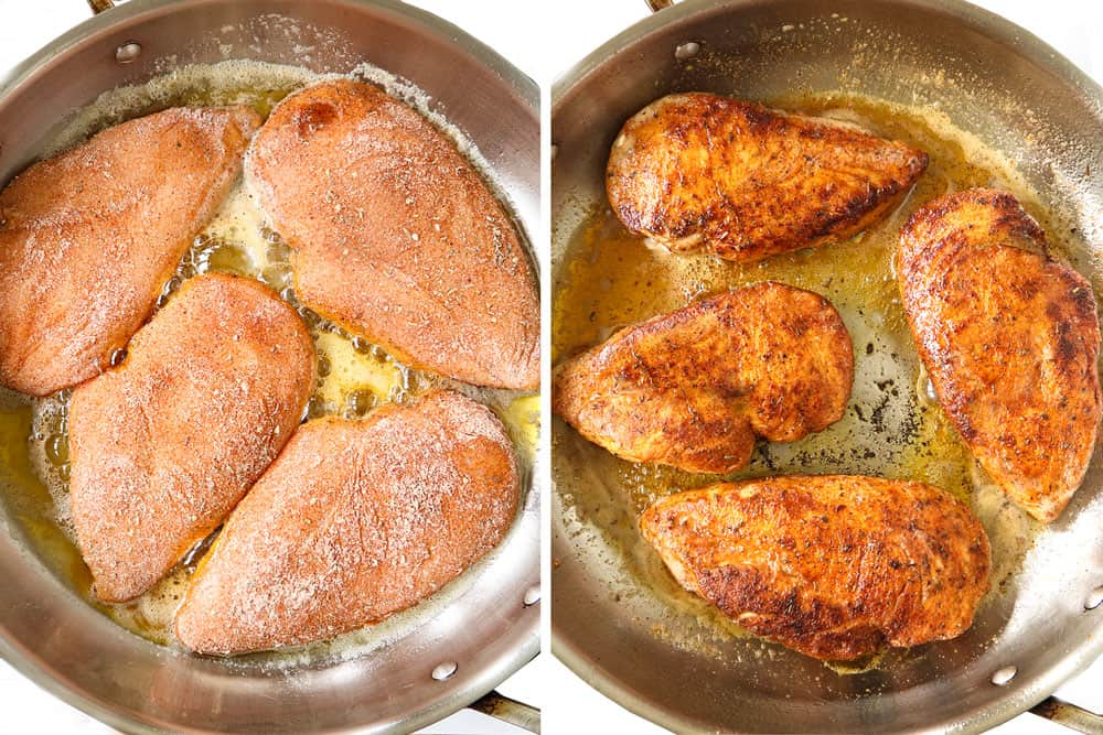 a collage showing how to make Cajun chicken recipe by pan frying in a skillet until golden