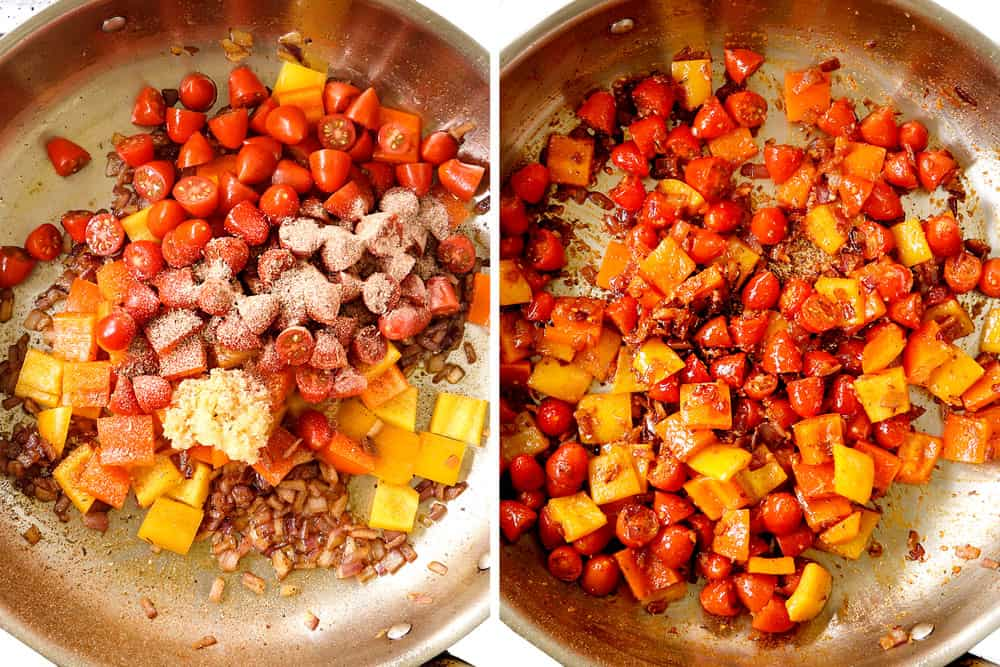 a collage showing how to make Cajun chicken recipe by sautéing bell peppers, onions, garlic and tomatoes in a stainless steel skillet