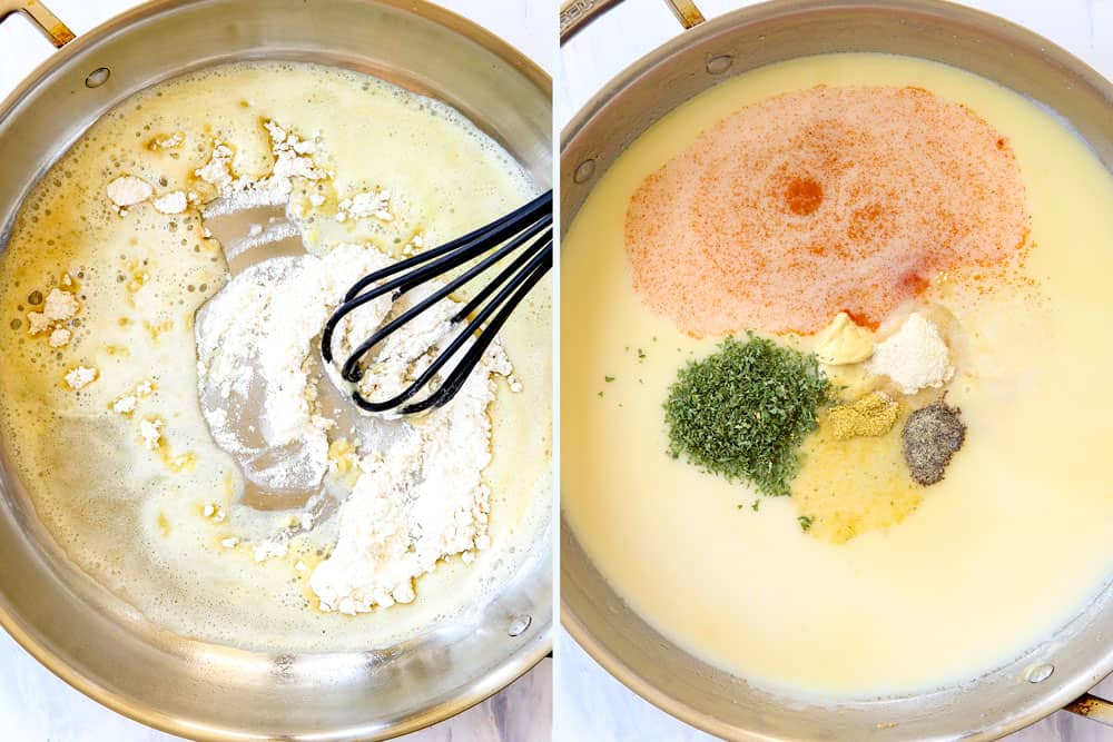 a collage showing how to make chicken cordon bleu casserole by adding flour to oil and making a roux then adding chicken broth, milk, and seaonings