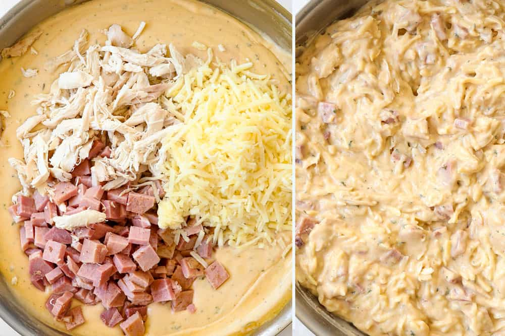 a collage showing how to make chicken cordon bleu casserole recipe by adding chicken, ham and Hashbrowns to sauce and stirring to combine