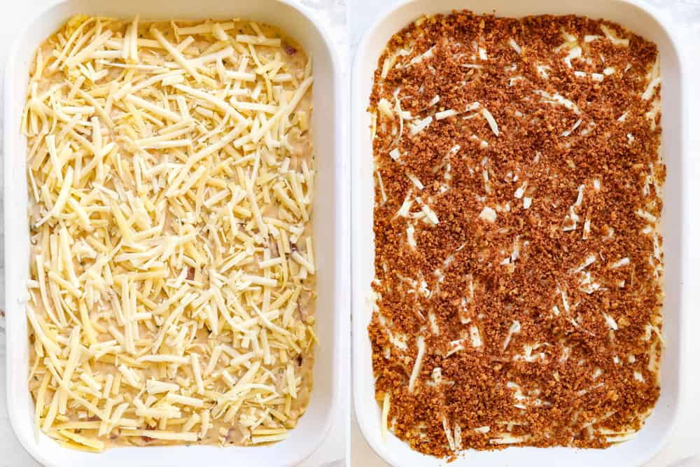 a collage showing how to make chicken cordon bleu casserole by adding filling to 9x13 pan, topping with cheese and then pankno
