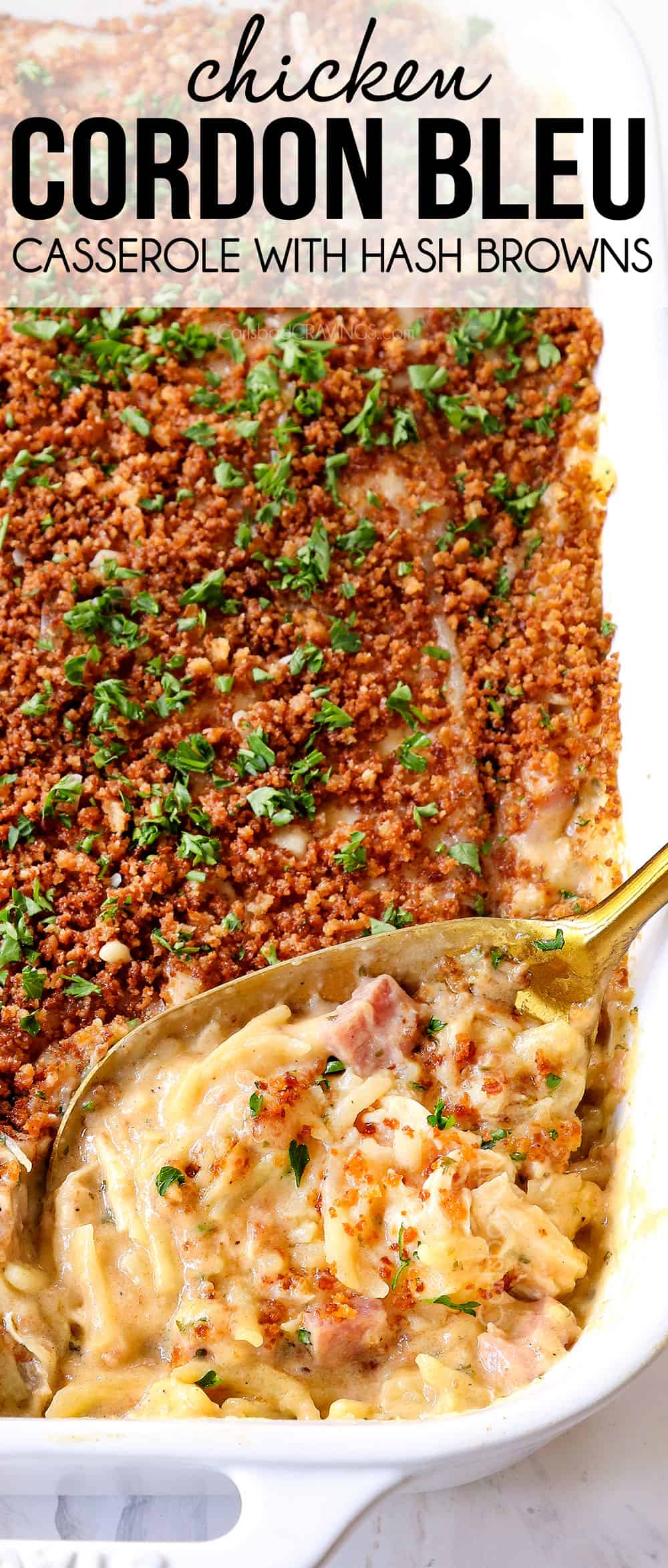 up close of a spoonful of chicken cordon bleu casserole showing how creamy it is