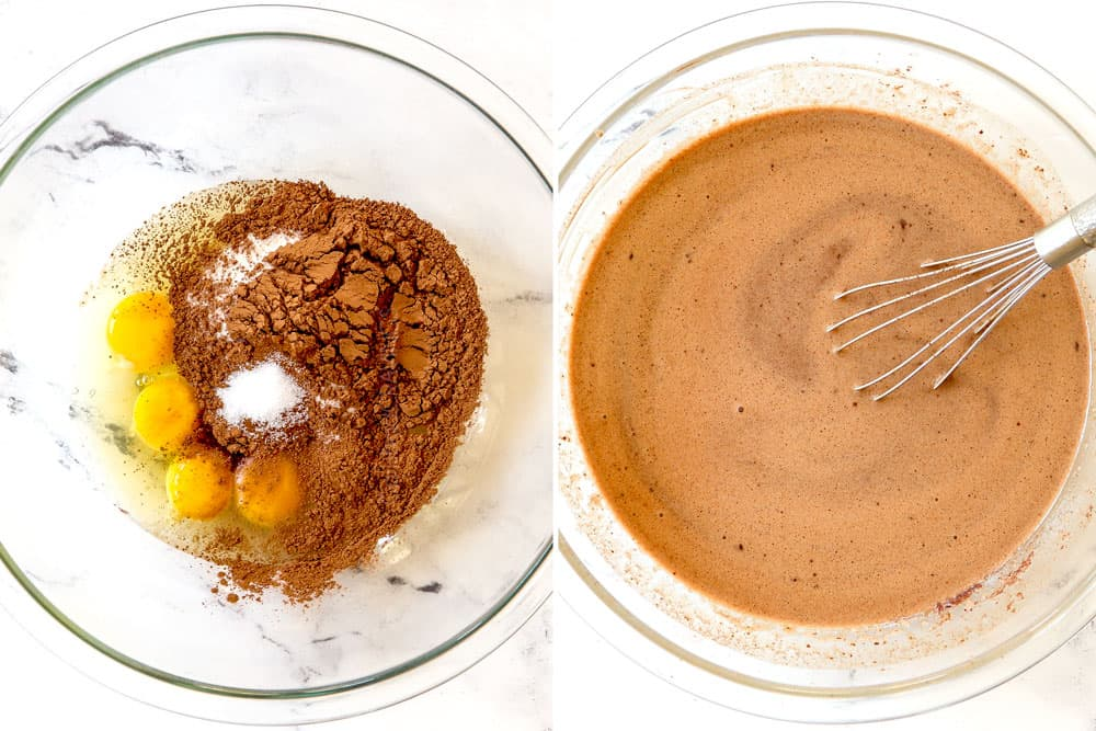 a collage showing how to make chocolate bread pudding recipe by whisking eggs, sugar and cocoa powder to make custard, then whisking in melted chocolate