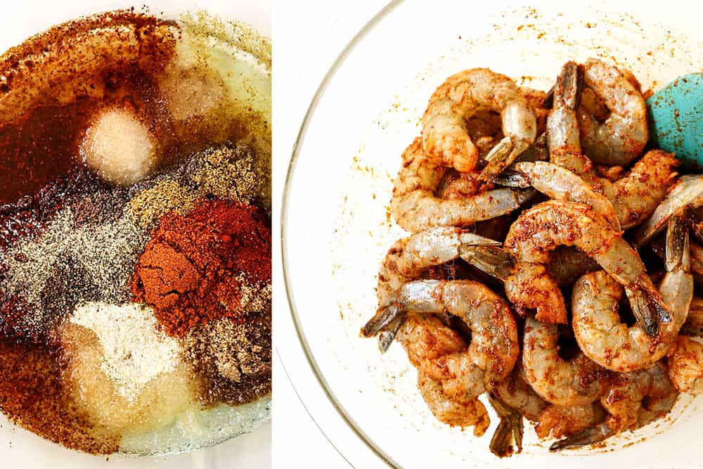 a collage showing how to make spicy easy shrimp tacos by whisking spice together in a bowl then adding shrimp and stirring to evenly coat in marinade