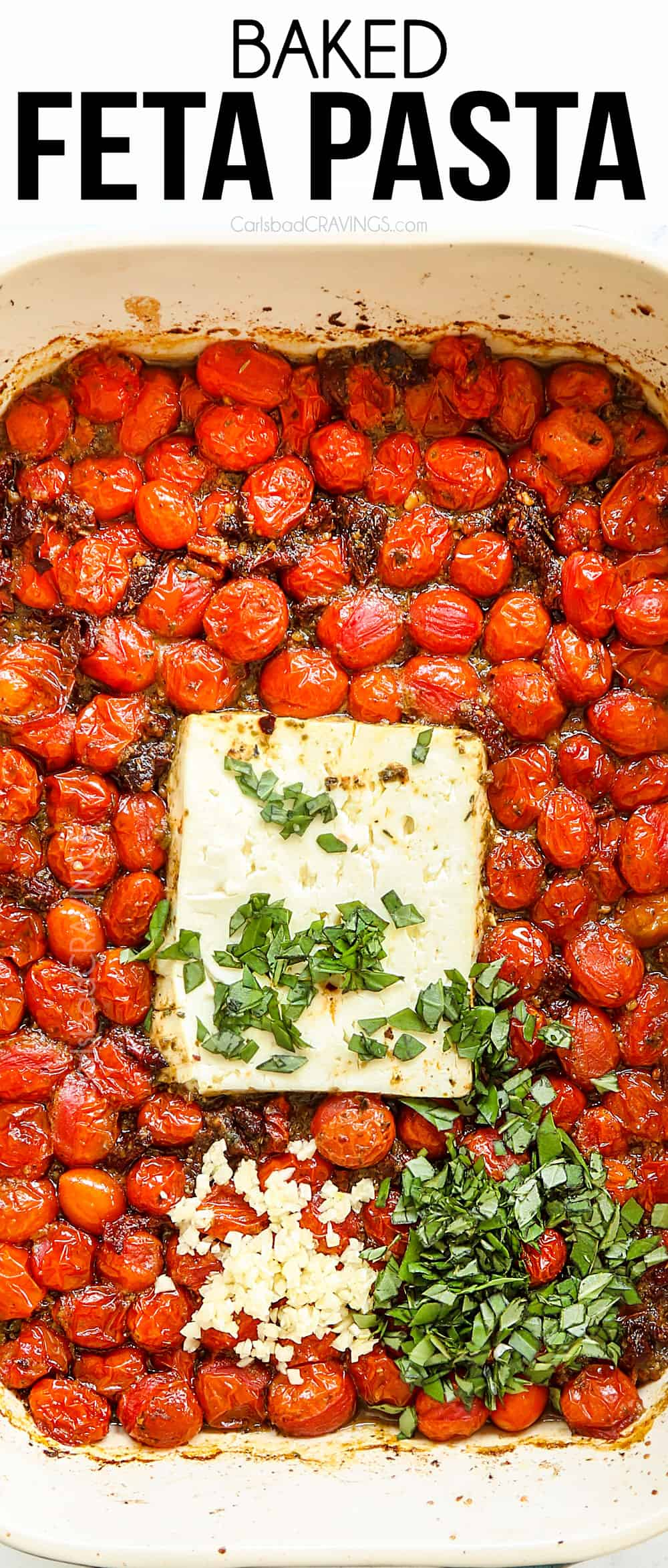 top view of TikTok Baked Feta Pasta with roasted tomatoes and feta in a baking dish