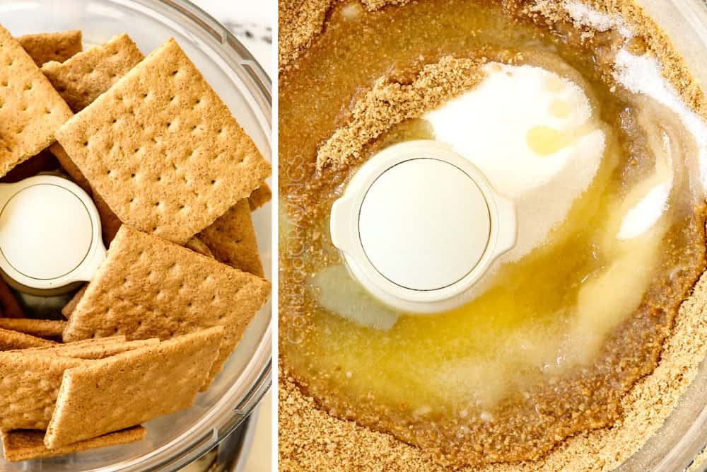 a collage showing how to make key lime cheesecake recipe by adding graham crackers to a food processor, processing, and adding sugar, and melted butter