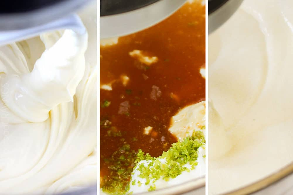 a collage showing how to make key lime cheesecake by beating cream cheese and sugar until fluffy, then adding key lime juice, vanilla, sour cream and key lime juice and mixing until smooth