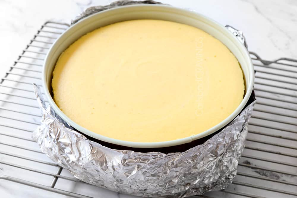 a collage showing how to make key lime cheesecake recipe by cooling cheesecake on a wire rack