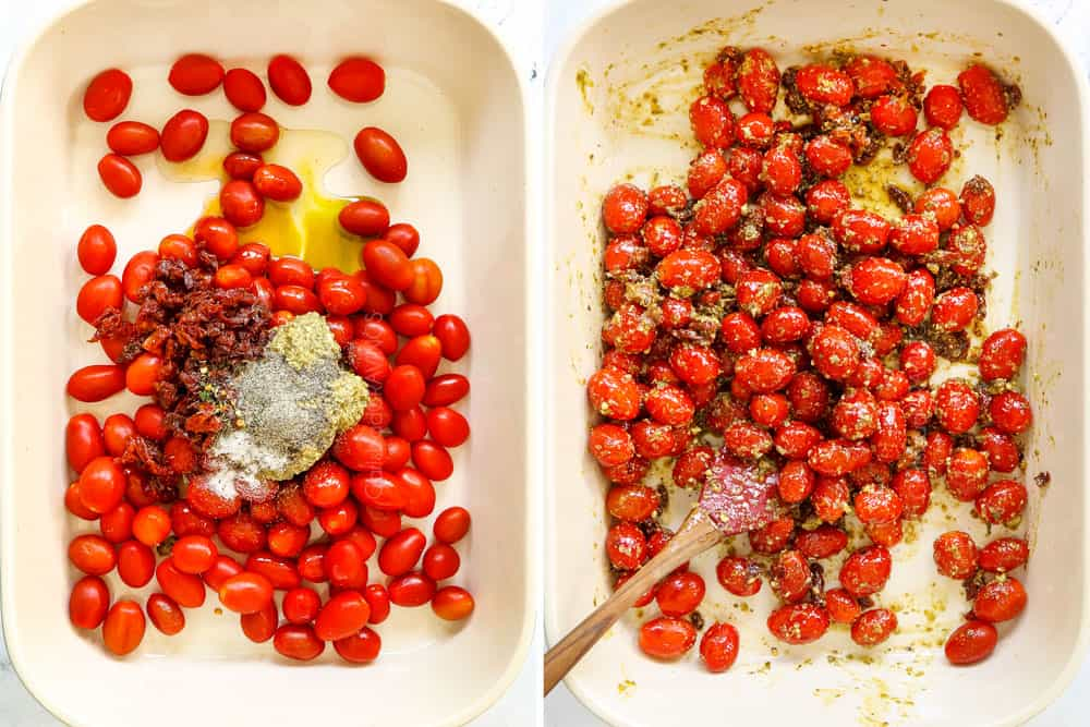 a collage showing how to make tiktok feta pasta by adding tomatoes, oil and seasonings to a baking dish then stirring all of the ingredients together