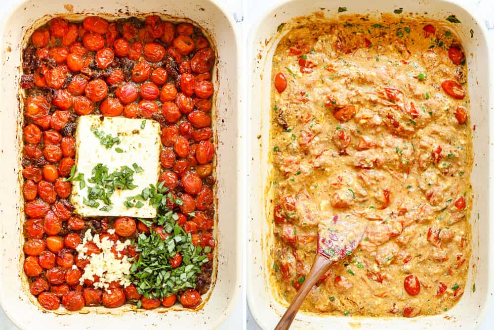 a collage showing how to make tiktok feta pasta by adding basil and garlic to roasted tomatoes, then stirring the tomatoes and feta together to create a creamy sauce