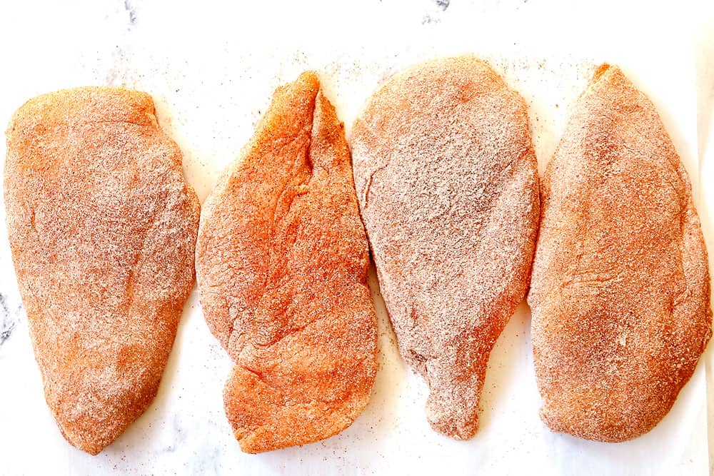 showing how to make Brown Sugar Chicken by dredging chicken in flour and seasonings