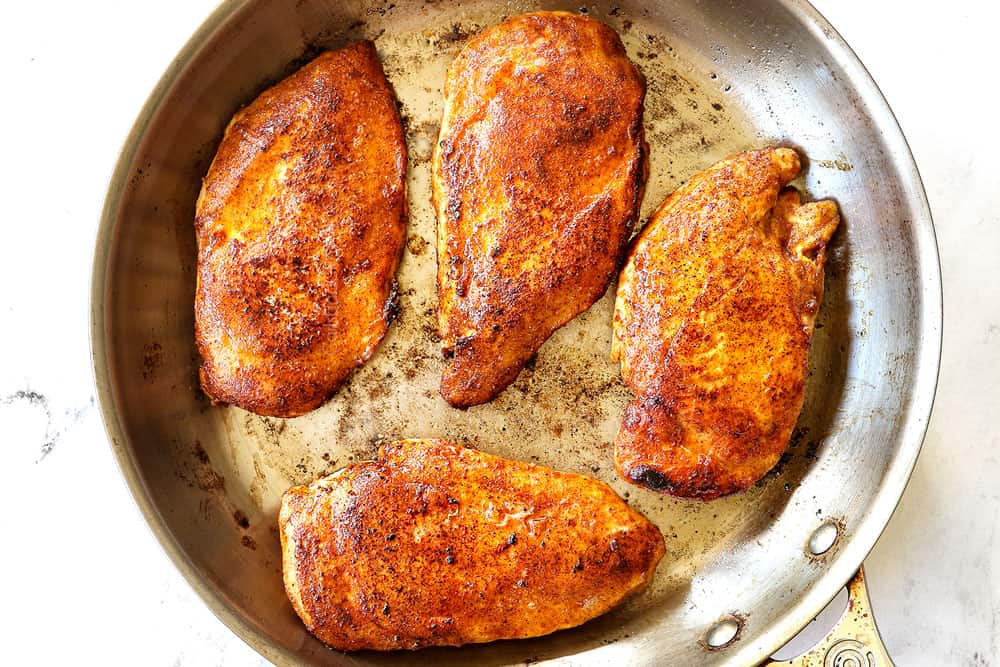 showing how to make Brown Sugar Chicken by searing chicken until golden