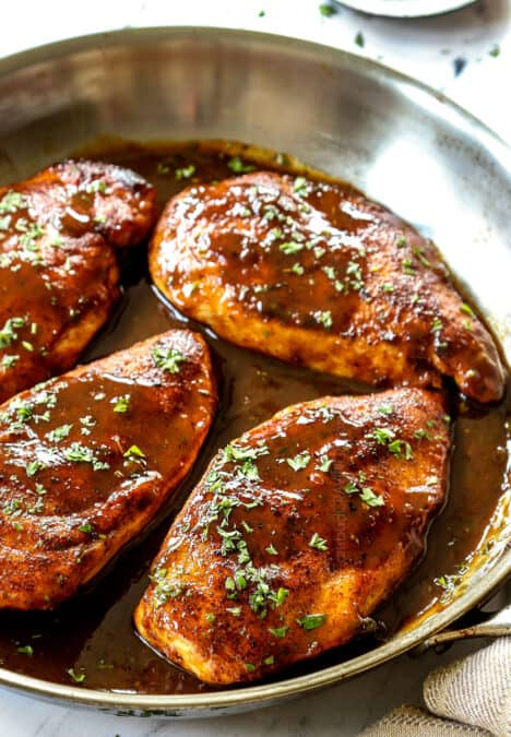 up close of garlic brown sugar chicken showing how juicy it is