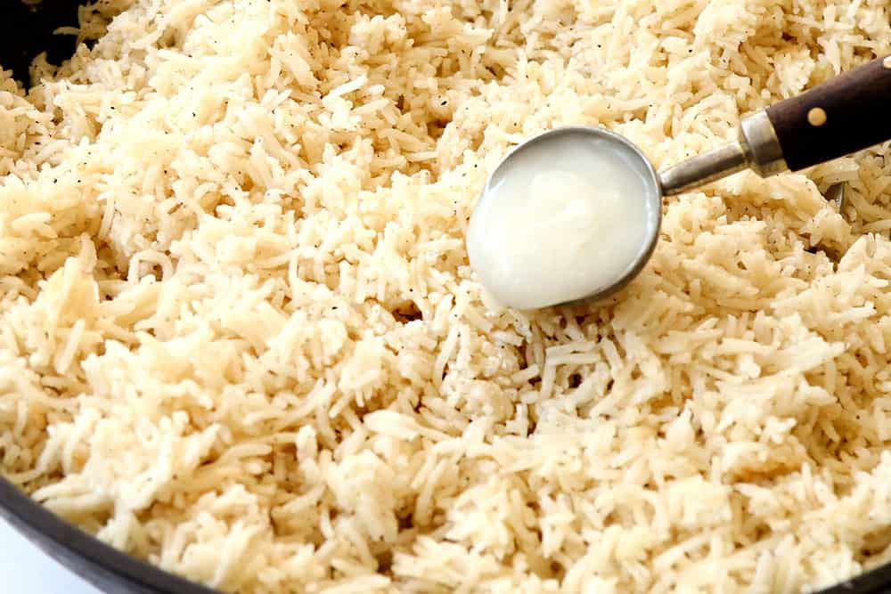 showing how to make coconut rice recipe by adding cream of coconut