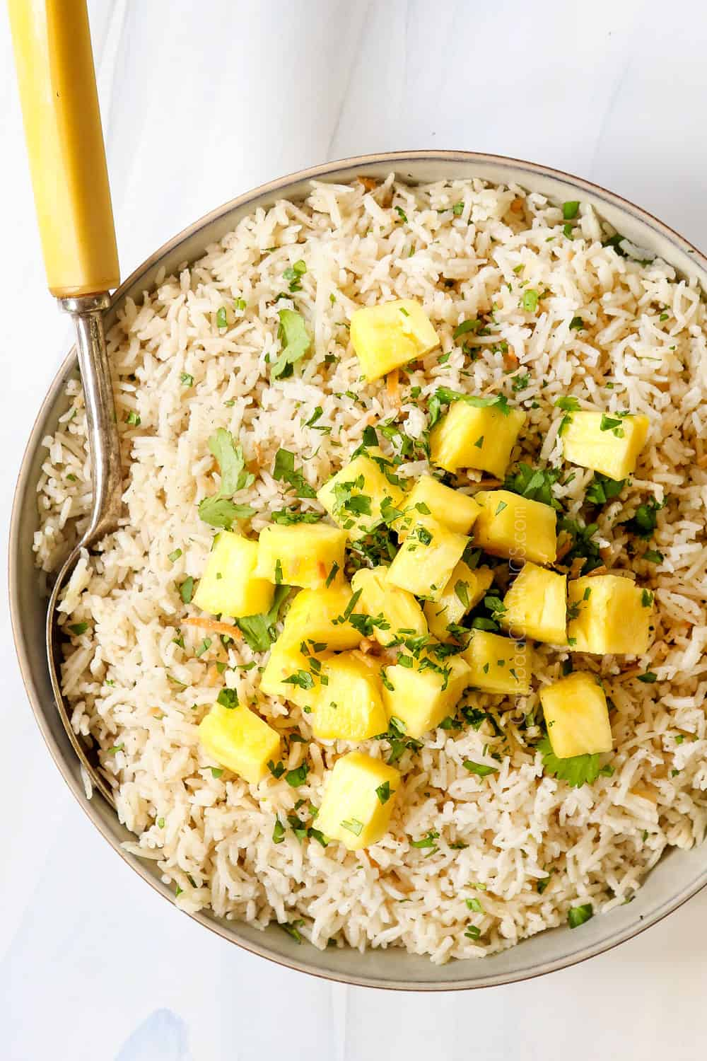 top view of coconut rice recipe garnished with toasted coconut