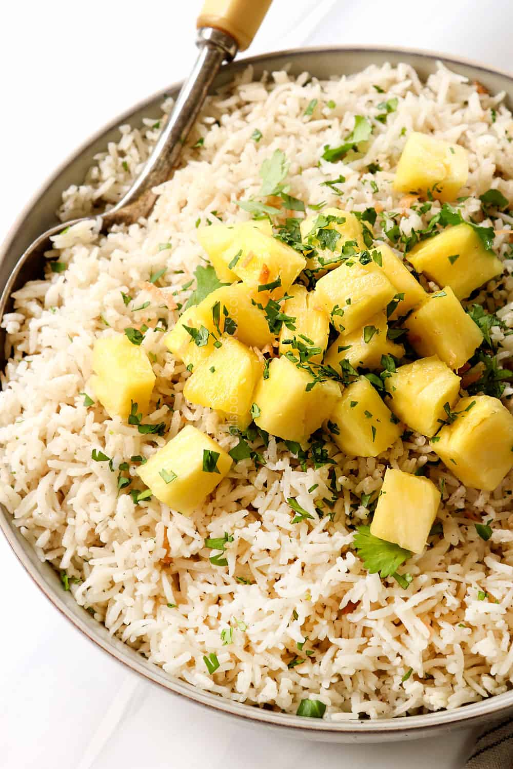 coconut jasmine rice topped with pineapple