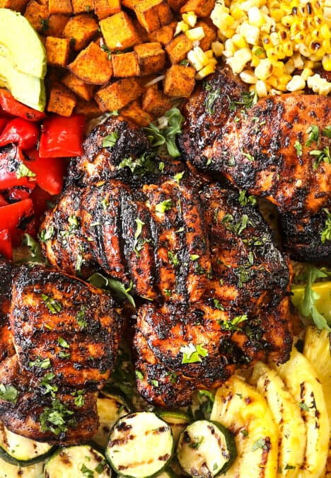 showing how to serve harissa chicken recipe on a platter
