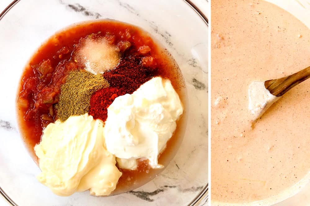 a collage showing how to make Pasta Salad dressing by adding sour cream, mayonnaise, salsa, lime juice, garlic and spices to a glass bowl then whisking to combine